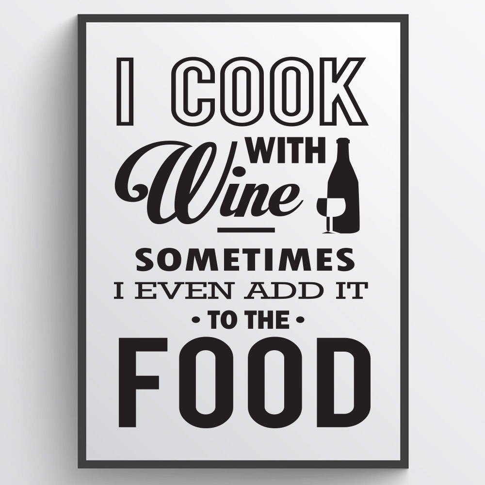 I cook with wine - Plakat