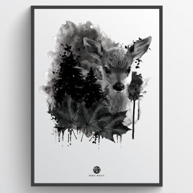 Forest deer - plakat wallsticker