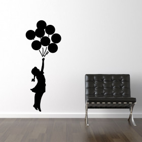 Banksy girl flying ballons wallsticker