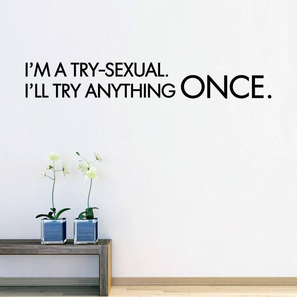 I'm a try-sexual. wallsticker