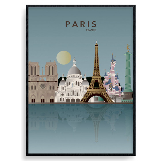 Paris Skyline Plakat wallsticker