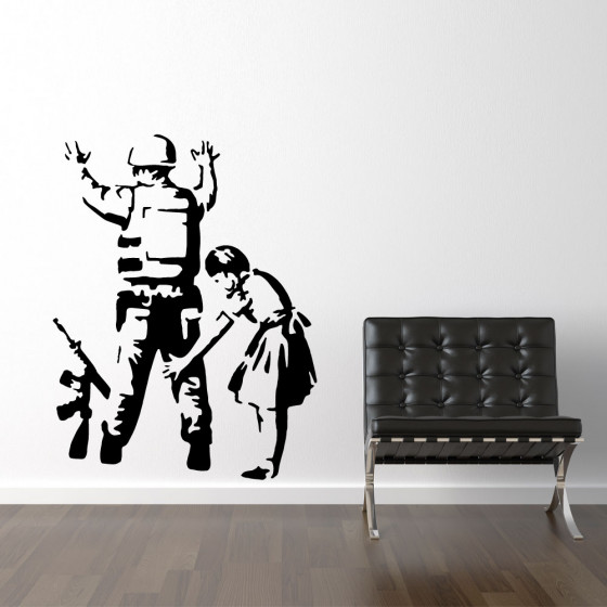 Banksy girl frisking soldier wallsticker