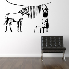 Banksy zebra stripes wash wallsticker