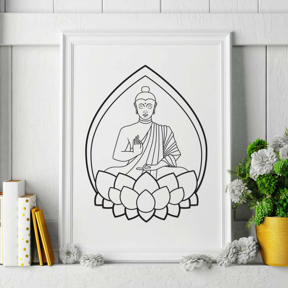 buddha plakat wallsticker fra kun 199 kr buddha wall decals easy to peel and stick wall