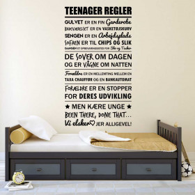 Teenager regler wallsticker