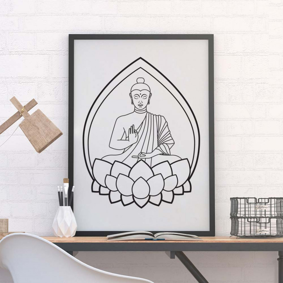 buddha plakat wallsticker fra kun 199 kr wallsticker buddha citat version 2