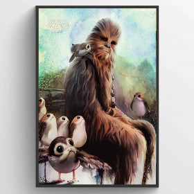 Star Wars: The Last Jedi Chewbacca & Porgs Plakat wallsticker