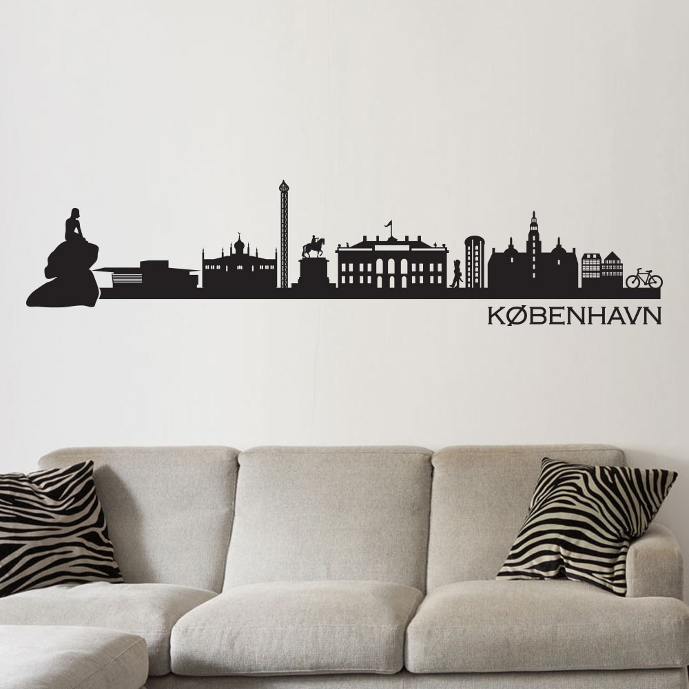 copenhagen skyline wallsticker fra kun 249 kr london skyline wall sticker for sale at bouf