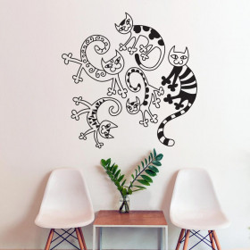 Artistisk katte collage wallsticker