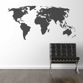 Verdenskort wallsticker linjer wallsticker