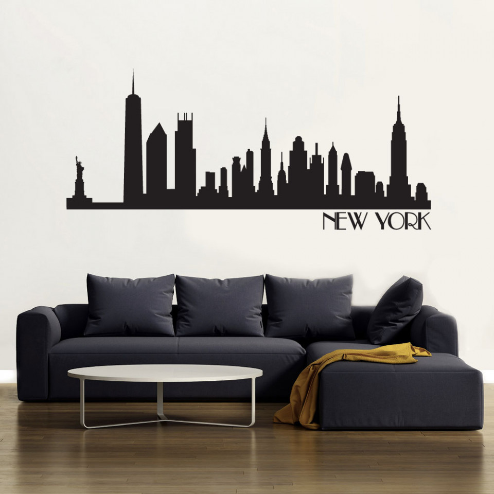 new york skyline wallsticker fra kun 229 kr new york city skyline black wall decal wall decal