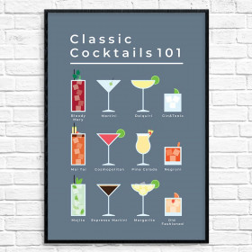 Classic cocktails - plakat wallsticker
