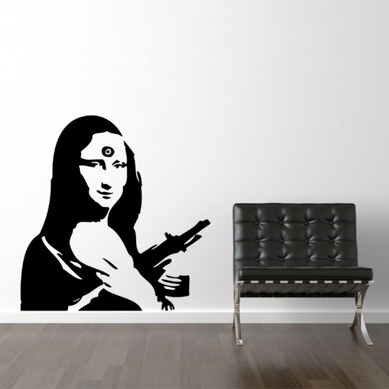Wallsticker banksy Mona Lisa ak47 wallsticker