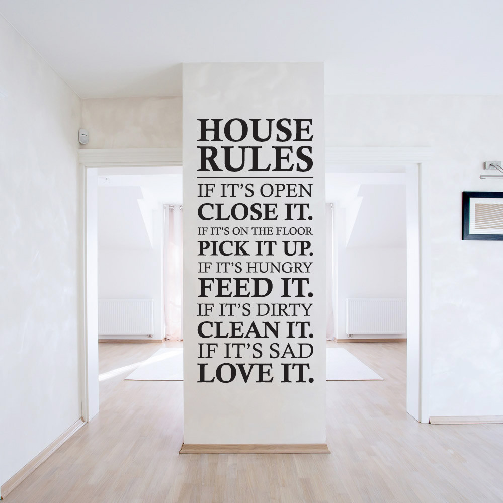 house rules wallsticker fra kun 199 kr house rule words and quotes wall decal fancy style house