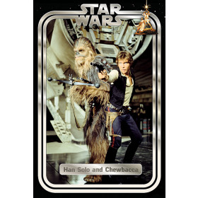 Star Wars Han and Chewie Retro Plakat wallsticker