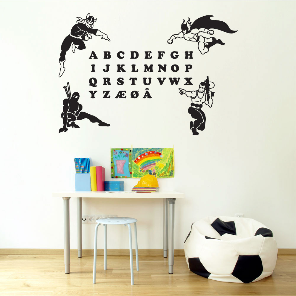 Superhelte alfabet wallsticker